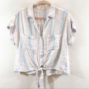 Cloth & Stone Tie Front Button Down Shirt Top Sz S
